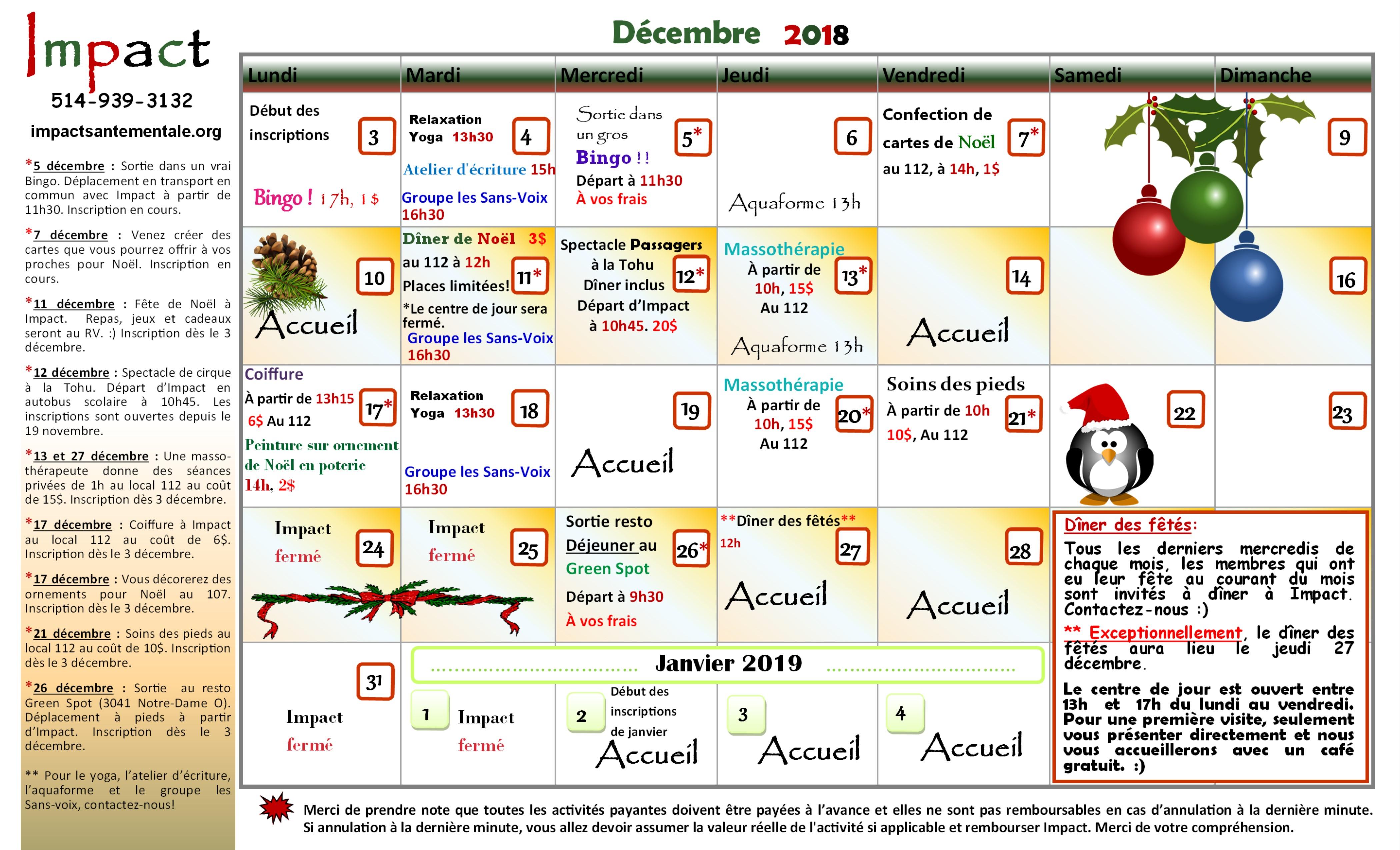 Calendrier décembre 2018 - Impact